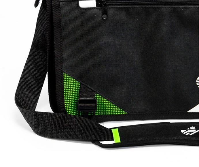 custom sewn shoulder bag with green branding