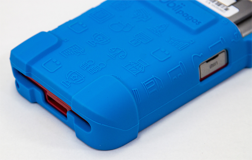 custom silicone skin around point of sale device